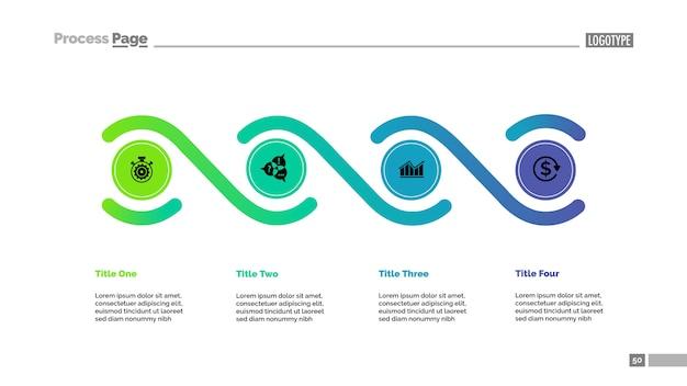 Prozessdiagrammschablone mit vier elementen. geschäftsdaten.