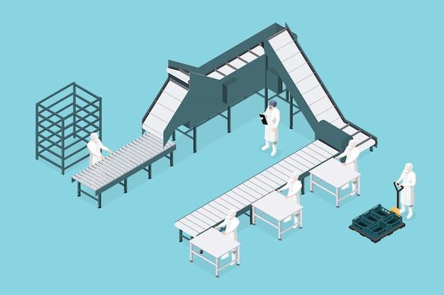 Prozesslinie in der lebensmittelfabrik. nahrungsmittelindustrie.