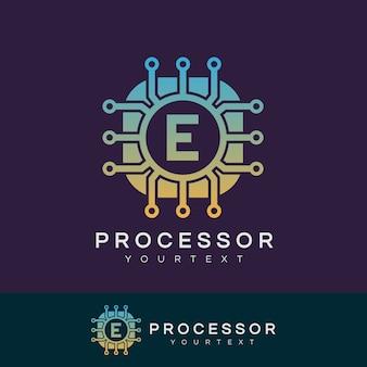 Prozessor anfangsbuchstaben e logo design
