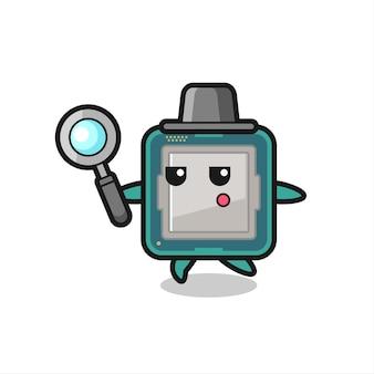 Prozessor-cartoon-charakter, die mit einer lupe suchen, niedliches design für t-shirts, aufkleber, logo-elemente