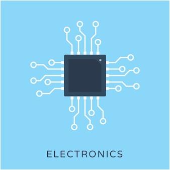 Prozessor chip flache vektor icon