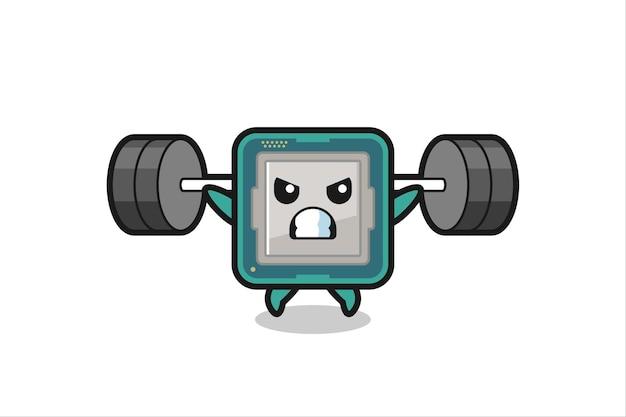 Prozessor-maskottchen-cartoon mit einer langhantel, süßes design für t-shirt, aufkleber, logo-element