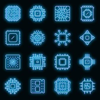 Prozessorsymbole eingestellt. umrisse von prozessorvektorsymbolen neonfarbe auf schwarz