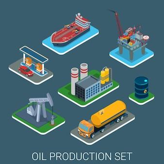Prozesszyklus der ölbenzinproduktion flach