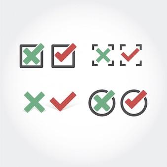 Prüfen und abbrechen sammlung buttons
