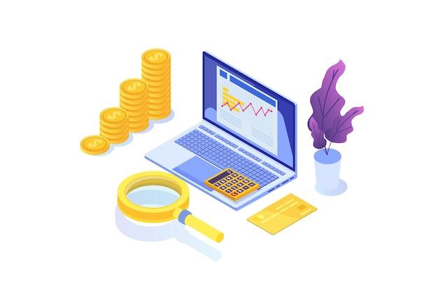Prüfkonzept für finanzverwaltungsprüfer mit zeichen unternehmenssteuer und konto
