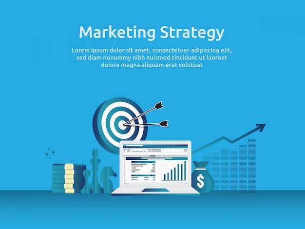 Prüfung der marketingstrategie und der geschäftsanalyse mit diagramm