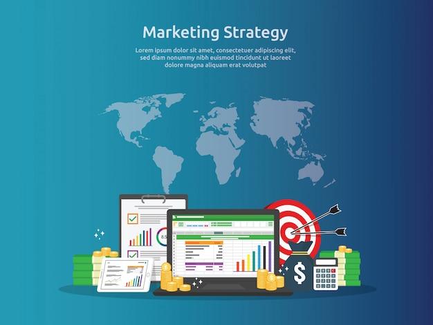Prüfung der marketingstrategie und der geschäftsanalyse mit diagrammen