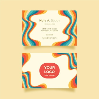 Psychedelische handgezeichnete visitenkarten