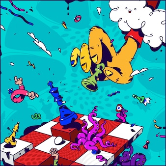 Psychedelische illustration über schach