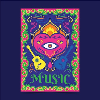 Psychedelische musik deckt vorlage ab