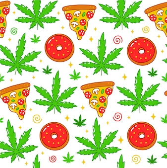 Psychedelisches trippy unkraut, pizza, donuts nahtloses muster