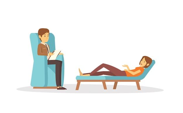 Psychiater, der patient auf psychischen gesundheitsproblemen behandelt