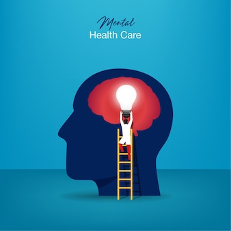 Psychiatrische behandlung. facharzt arbeiten, um psychotherapie zu geben. winziger personencharakter mit leiterentwurf.
