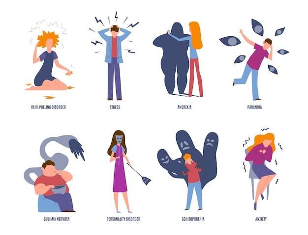 Psychiatrische krankheit. psychische störungen, paranoia und panik, bulimie und stress.