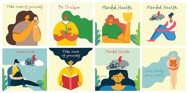 Psychische gesundheit behandlung vektor-illustration konzept. facharzt arbeiten, um psychologische therapie zu geben. winziger charakter mit leiterdesign. banner-, poster- oder social-media-druck.