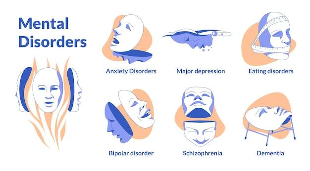 Psychische probleme vektorillustration von flugzeugen menschliche masken mit kleinen emotionen symbolisieren die meisten p