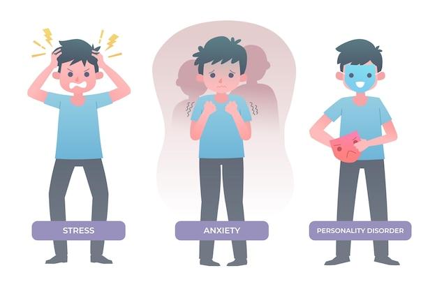Psychische störungen illustrierten das sammlungsdesign