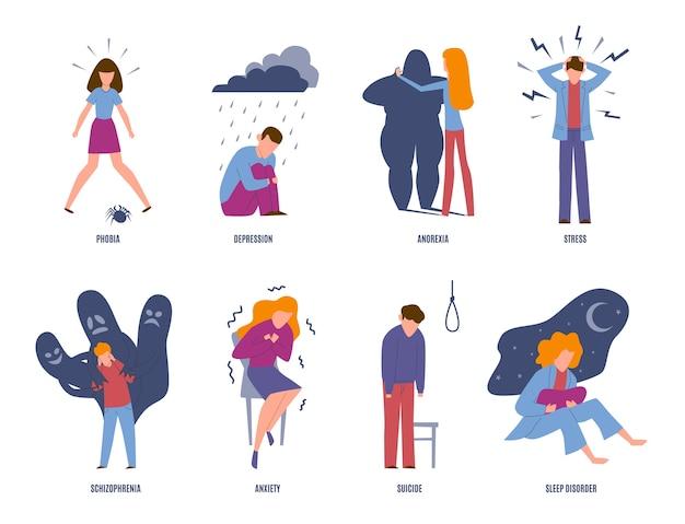 Psychische störungen. psychische erkrankungen, menschen mit psychiatrischen problemen. phobie, depression und angst, selbstmord. geisteskrankheit emotionale unglückliche einstellung