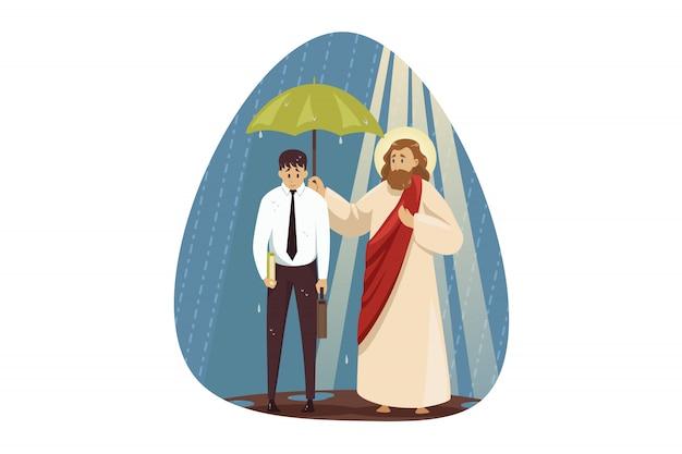 Psychischer stress, depression, religion, christentum, geschäftskonzept