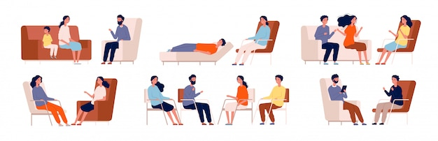 Psychologe. gruppentherapie-couch sprechender medizinischer berater, der familienberatungscharaktere sitzt