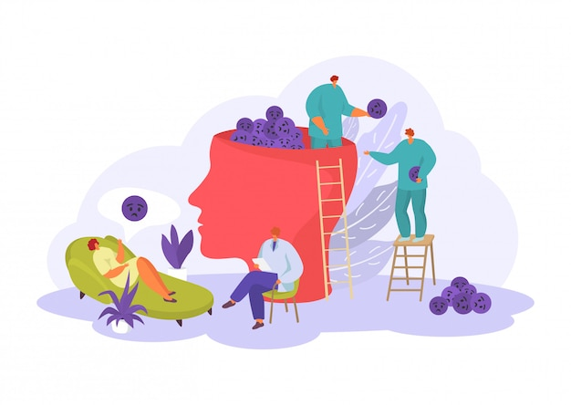 Psychologe hilfe für menschen, geistige und emotionale probleme in der psychotherapie illustration auf weiß isoliert.