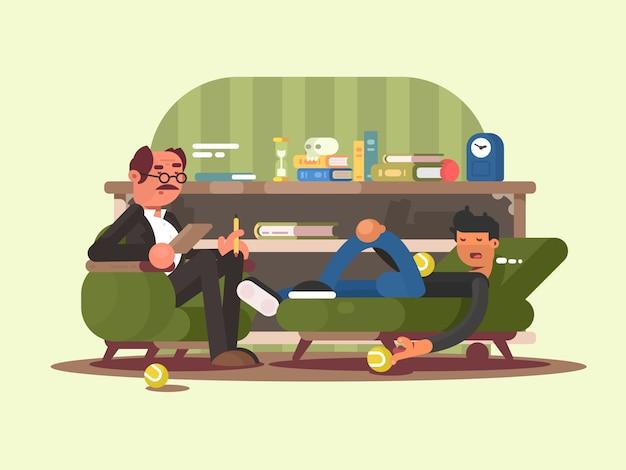 Psychologe mann im büro. der mann an der rezeption beim psychotherapeuten des arztes