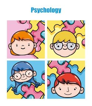 Psychologie-karikaturvektorillustrations-grafikdesign der kinder