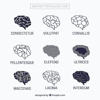 Psychologie logos mit abstrakten mustern