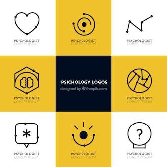 Psychologie logos mit flachen designs