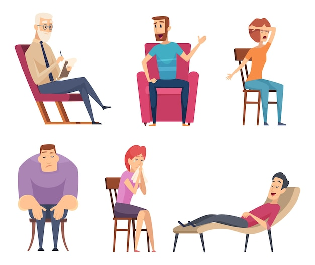 Psychologieberater. psychotherapie hilft bei der beratung von männlichen und weiblichen personen, die auf dem sofa und im gruppenset sitzen.