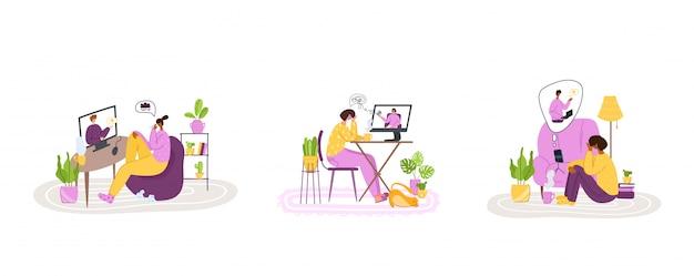 Psychologische online-dienste - persönliche fernunterstützung oder unterstützung zu hause per internet