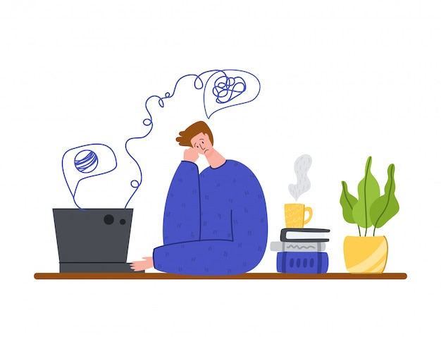 Psychologischer service online, persönliche hilfe. verärgerter verwirrter mann in schwierigkeiten, der psychologen auf laptop anruft