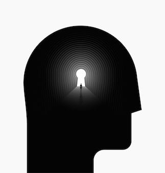 Psychologisches konzept der inneren welt oder des inneren raums mit schwarzem menschlichem kopf
