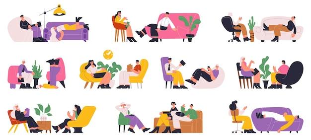 Psychotherapie hilft einzel- und therapieberatung. psychotherapeutensitzung, patienten auf sofavektorillustrationssatz. psychotherapeutische dienste zur unterstützung psychischer, psychotherapeutischer einzelpersonen