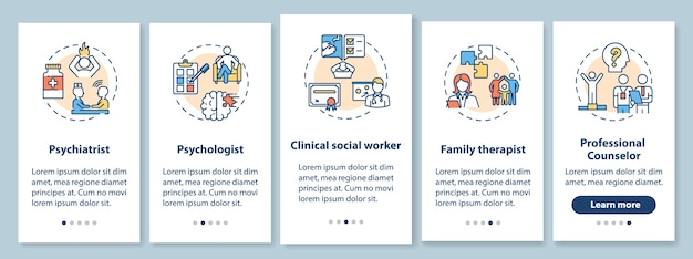 Psychotherapie jobs onboarding mobile app seite bildschirm mit konzepten