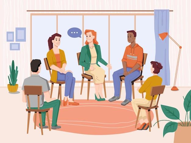 Psychotherapie menschen gruppentherapie mit berater