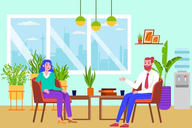Psychotherapie menschen, psychologe beratung frau illustration. arzt, der patienten mit verhaltens- oder psychischen gesundheitsproblemen behandelt. psychologische hilfe bei emotionalen störungen.