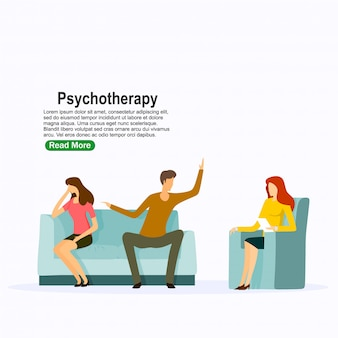 Psychotherapiepraxis, psychiater, der patienten konsultiert. psychische störung behandlung. vektor-illustration