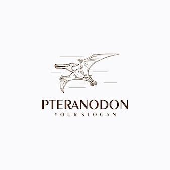 Pteranodon-logo mit strichzeichnungen, logo-referenz