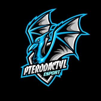 Pterodactyl maskottchen logo esport gaming