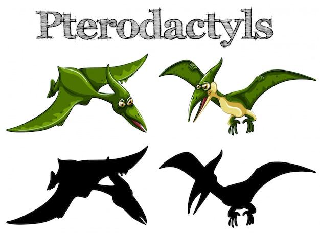 Pterodactyls in grün und silhouette