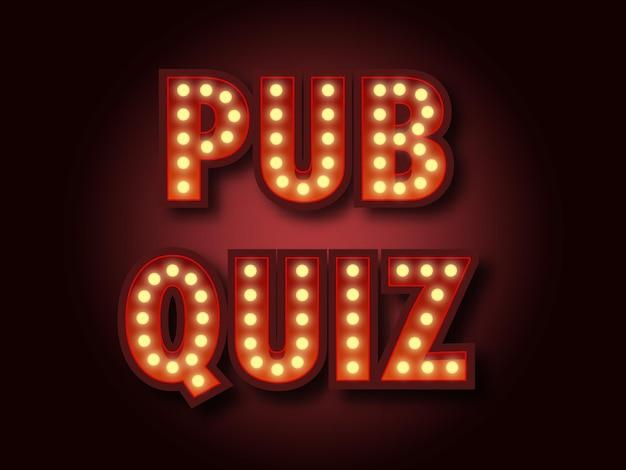 Pub-quiz-ankündigungsplakat glühbirnenkasten im vintage-stil, die auf dunklem hintergrund leuchten