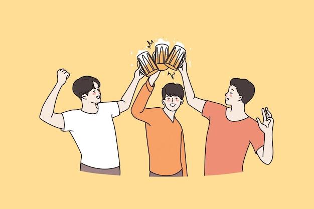 Pub und bierpartykonzept feiern. drei junge lächelnde freunde, die becher bier halten, die zusammen feiertag feiern, klirren vektorillustration