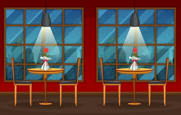Pub und restaurant hintergrundszene Premium Vektoren