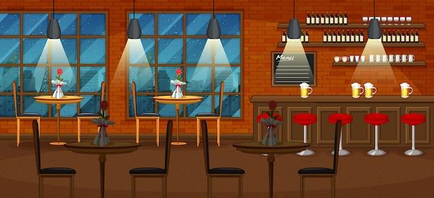 Pub- und restaurantillustrationsszene Premium Vektoren
