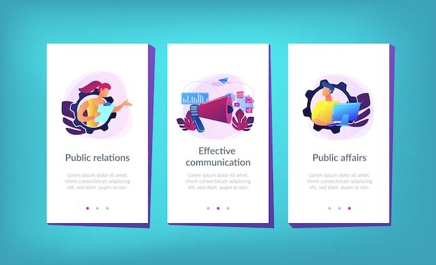 Public relations-app-interface-vorlage