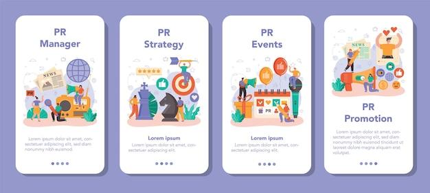 Public relations manager mobile anwendung banner-set. spezialist für die entwicklung kommerzieller markenwerbung und den aufbau von kundenbeziehungen. flache vektorillustration