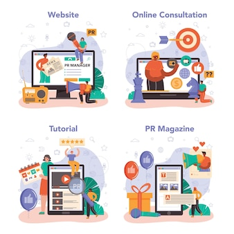 Public relations manager online-service oder plattform-set. spezialist für den aufbau und die entwicklung von kundenbeziehungen. online-beratung, tutorial, magazin, website. flache vektorillustration