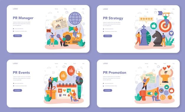 Public relations manager web-banner oder landing-page-set. spezialist für die entwicklung kommerzieller markenwerbung und den aufbau von kundenbeziehungen. flache vektorillustration